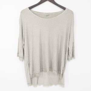 POL Striped High Low Lace Hem Oversized T-Shirt S